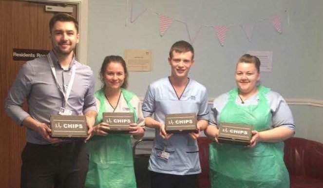 Staff at Woodend Hospital with some of the food delivered by Mr Chips.