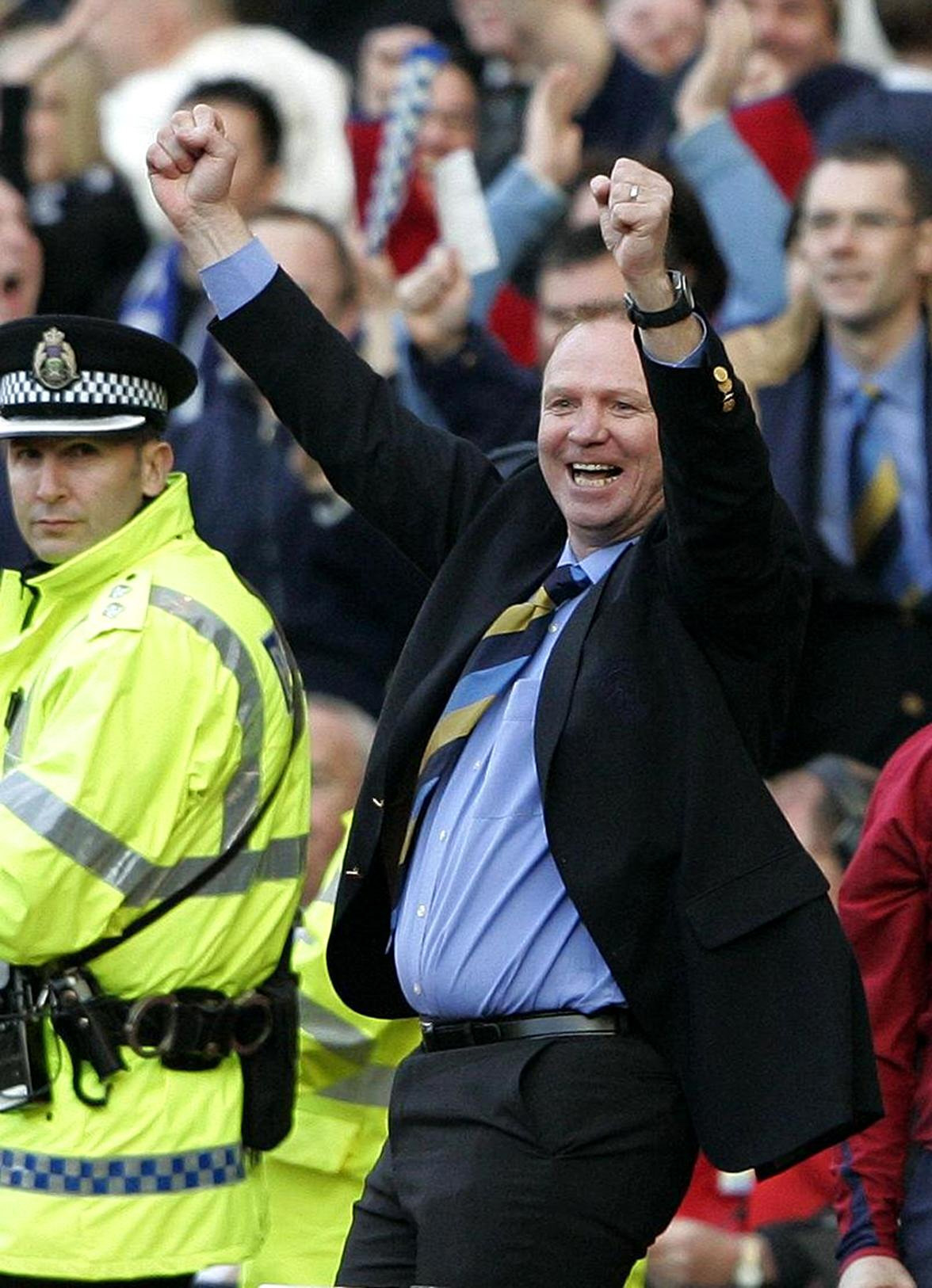 Alex McLeish reacts after the final whistle at Hampden.
