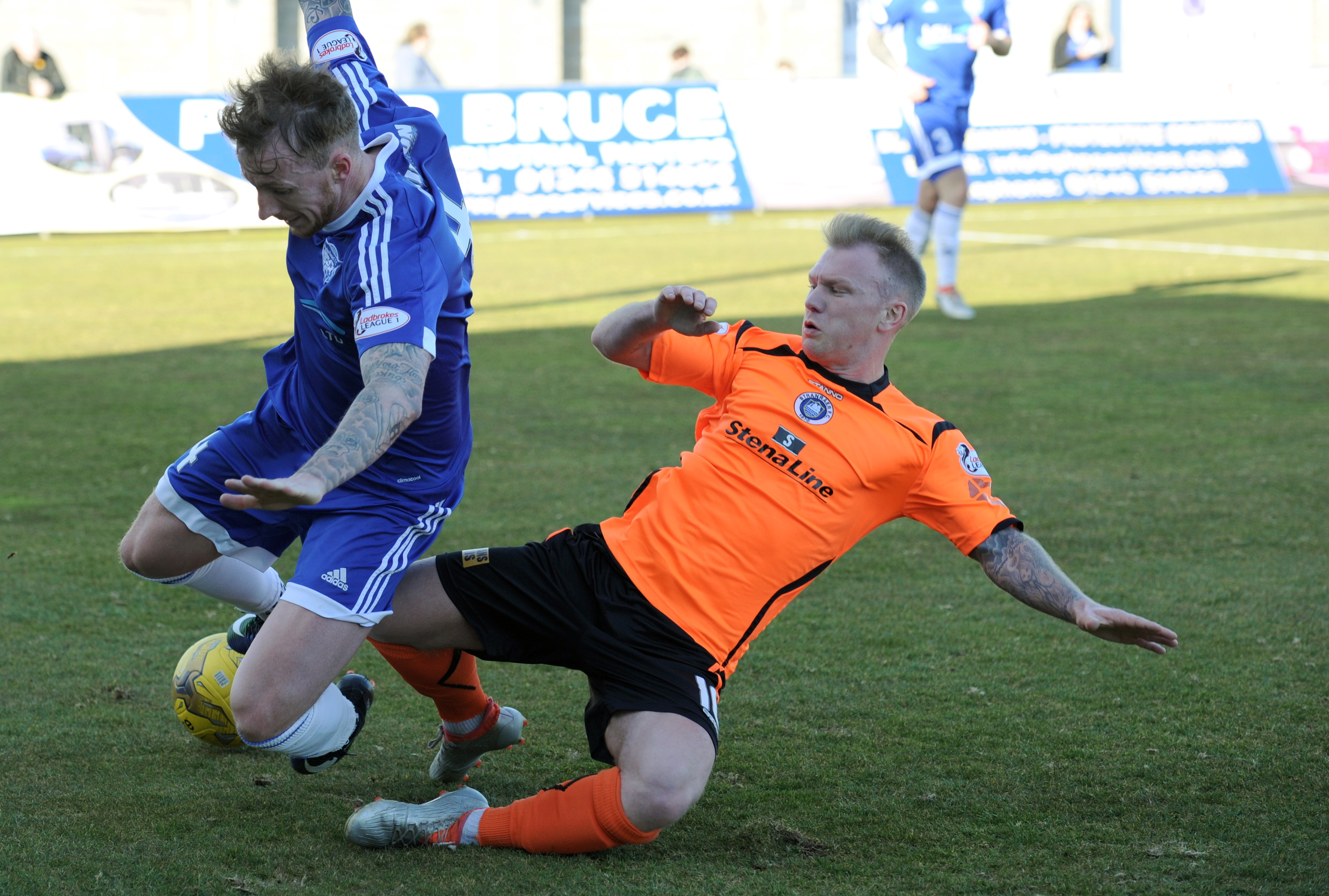 Peterhead's Craig Reid, left, does not expect the club to go down.