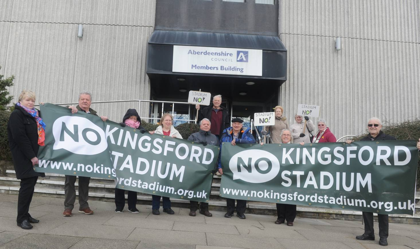 Protesters outside Woodhill House, Aberdeenshire Council's HQ.