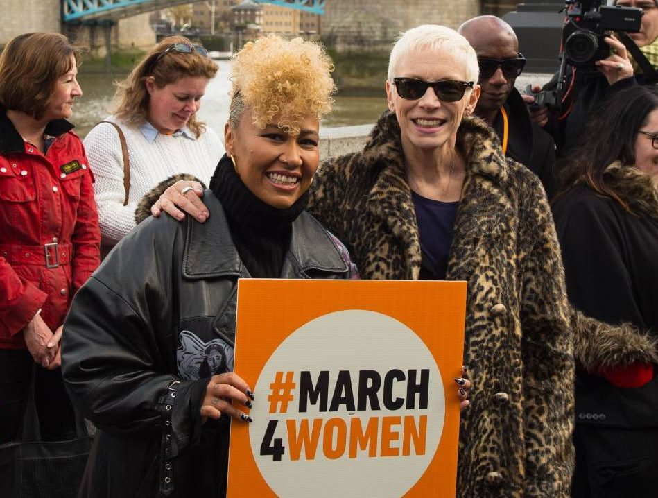 Emile Sande (left) and Annie Lennox at a photocall ahead of the March4Women in London.