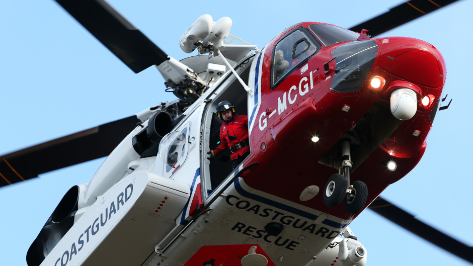 The Coastguard helicopter was involved in the rescue operation this morning