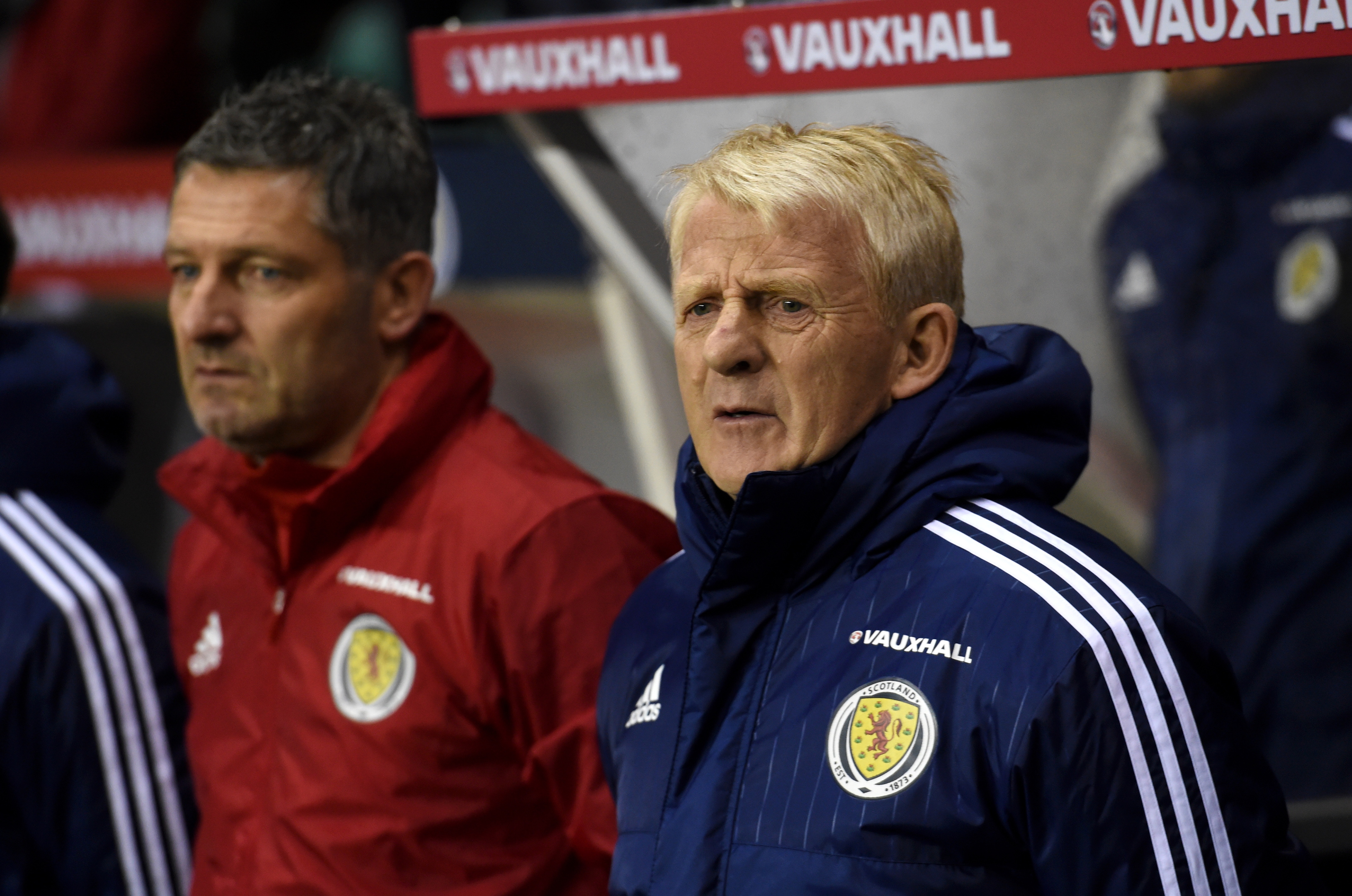 Gordon Strachan, right, looks on as Scotland labour against Canada. (Picture by Darrell Benns.)