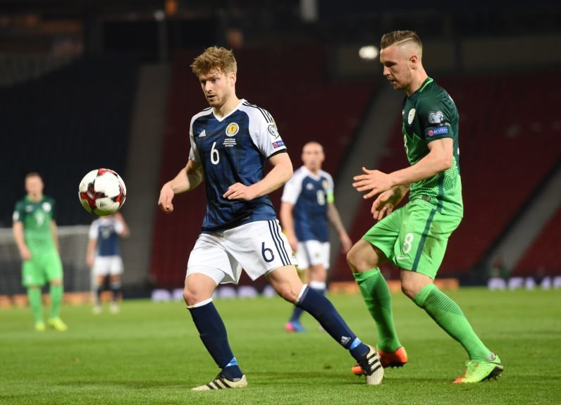 Scotland v Slovenia 2018 Fifa World Cup Qualifier Hampden Park, Glasgow Pictured is Scotland's Stuart Armstrong and Slovenia's Jasmin Kurtic  Picture by DARRELL BENNS     Pictured on 26/03/2017