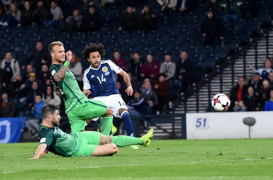 Scotland v Slovenia 2018 Fifa World Cup Qualifier Hampden Park, Glasgow Pictured is Scotland's Ikechi Anya having a shot  Picture by DARRELL BENNS     Pictured on 26/03/2017