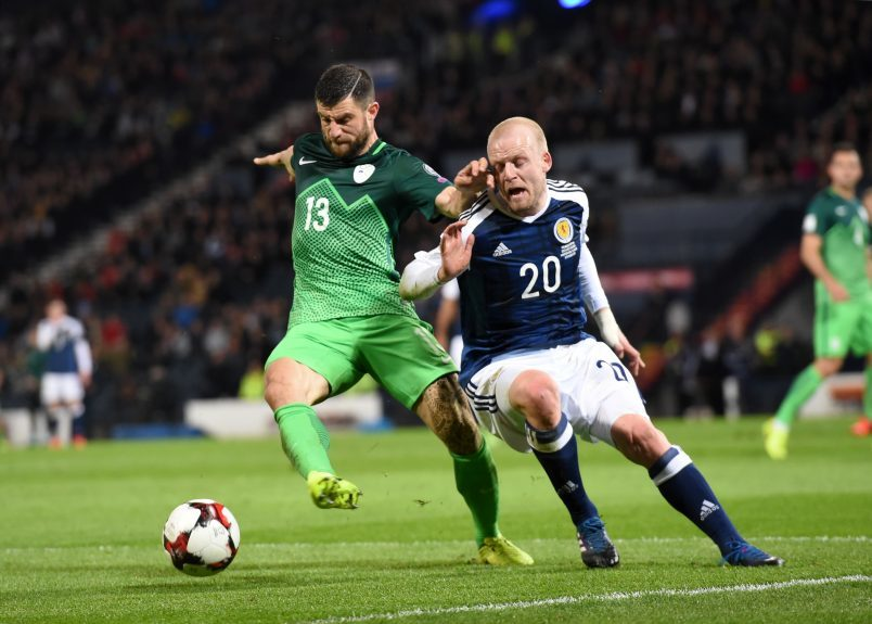 Scotland v Slovenia 2018 Fifa World Cup Qualifier Hampden Park, Glasgow Pictured are Slovenia's Bojan Jokic and Scotland's Steven Naismith Picture by DARRELL BENNS     Pictured on 26/03/2017