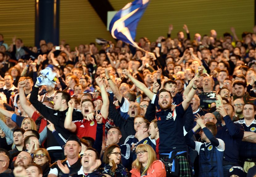Scotland v Slovenia 2018 Fifa World Cup Qualifier Hampden Park, Glasgow Pictured are Scotland fans celebrating Picture by DARRELL BENNS     Pictured on 26/03/2017