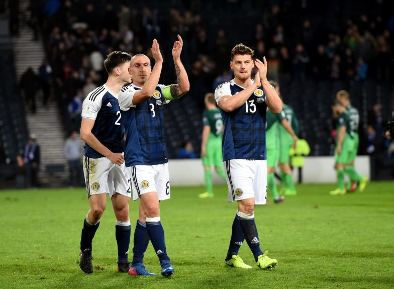 Scotland v Slovenia 2018 Fifa World Cup Qualifier Hampden Park, Glasgow Pictured are Scotland players Kieran Tierney, Scott Brown and Chris Martin at full time. Picture by DARRELL BENNS     Pictured on 26/03/2017