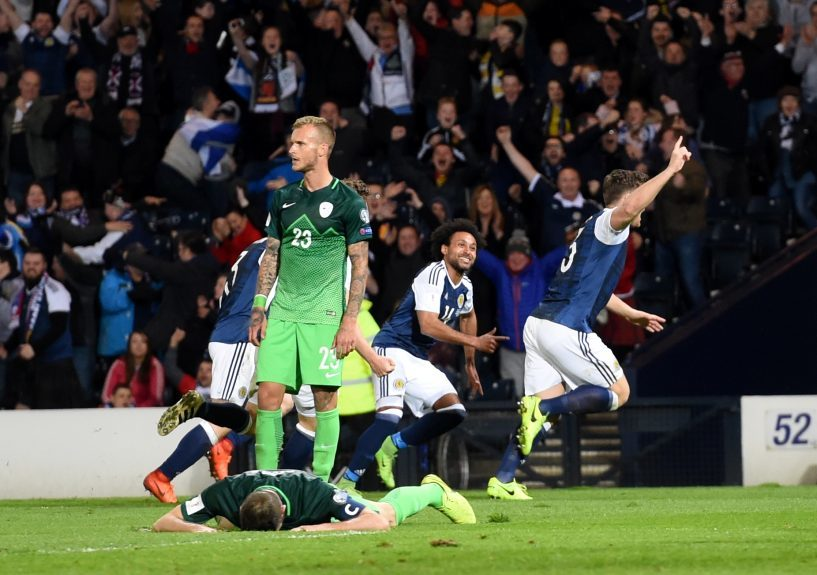 Scotland v Slovenia 2018 Fifa World Cup Qualifier Hampden Park, Glasgow Pictured is Scotland's Chris Martin celebrating his goal. Picture by DARRELL BENNS     Pictured on 26/03/2017
