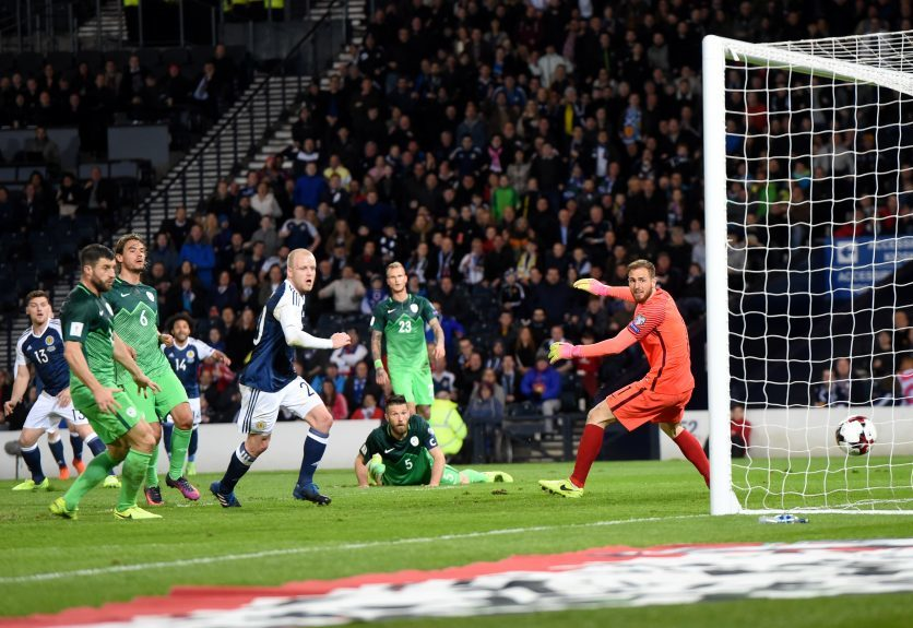 Scotland v Slovenia 2018 Fifa World Cup Qualifier Hampden Park, Glasgow Pictured is Scotland's Chris Martin scoring his goal Picture by DARRELL BENNS     Pictured on 26/03/2017