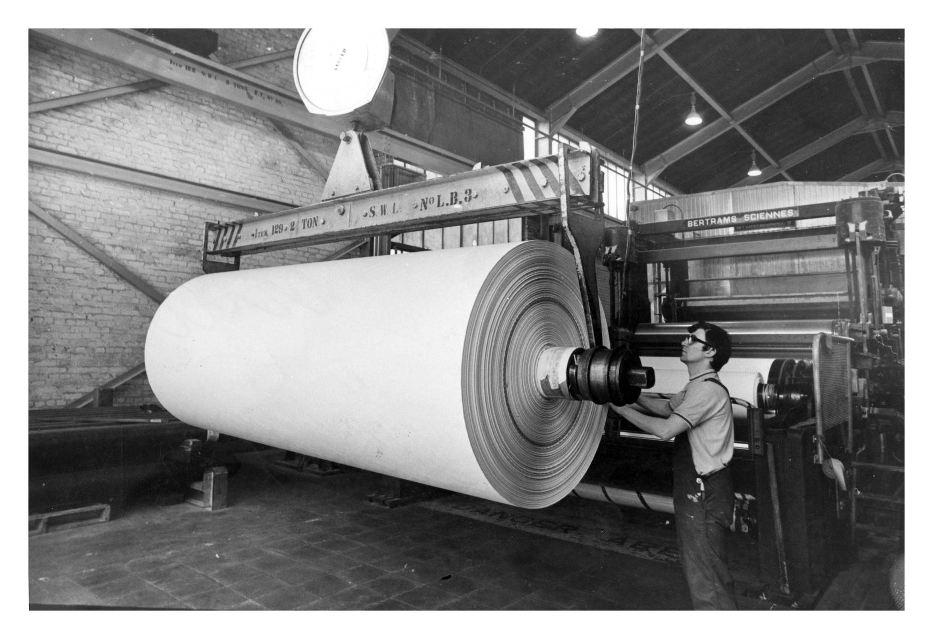 The reel-up of No.3 machine at Inverurie's Thomas Tait Paper Mill in Inverurie