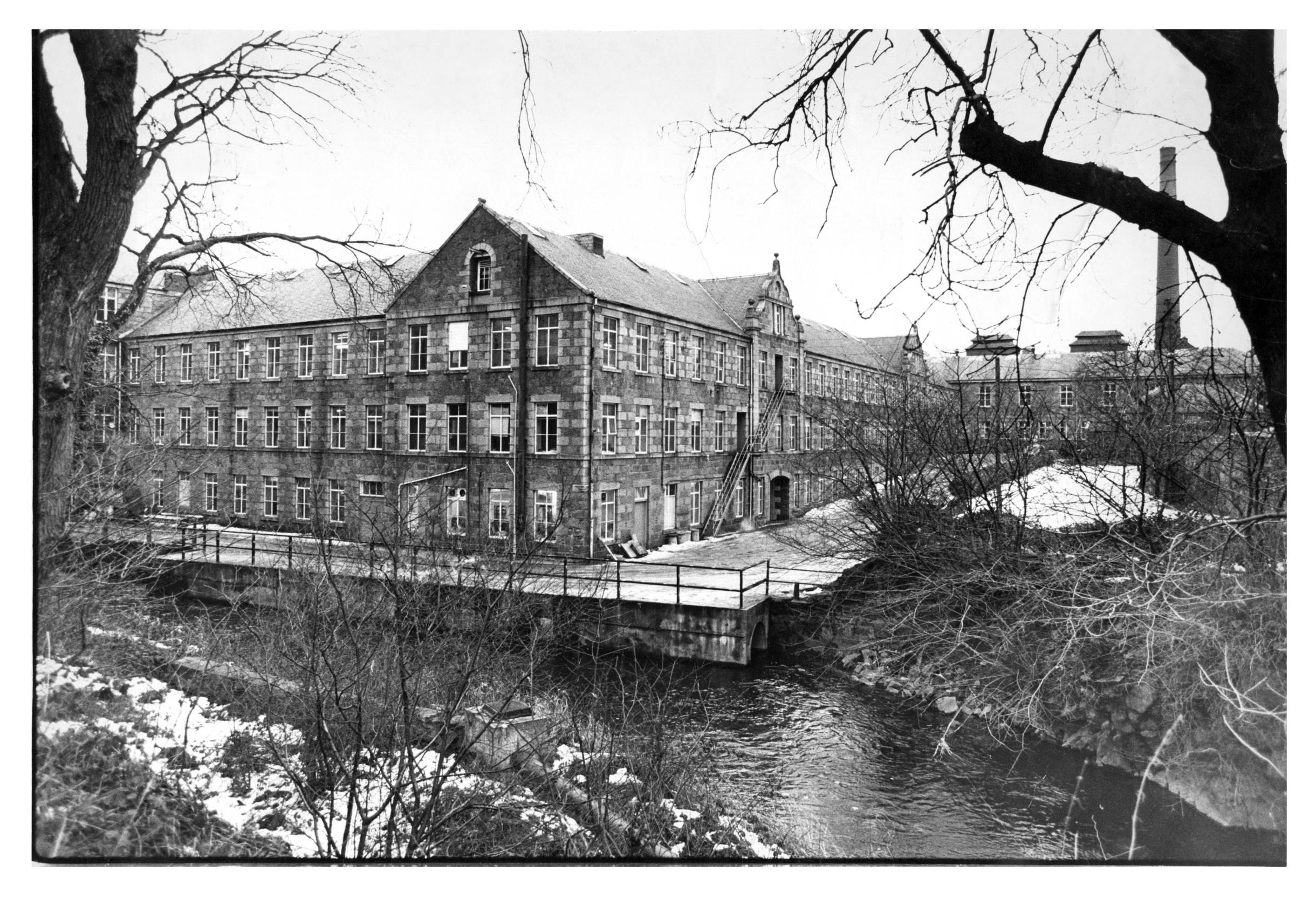 An exterior view of the Culter Paper Mill, which would not survive to the mid-80s