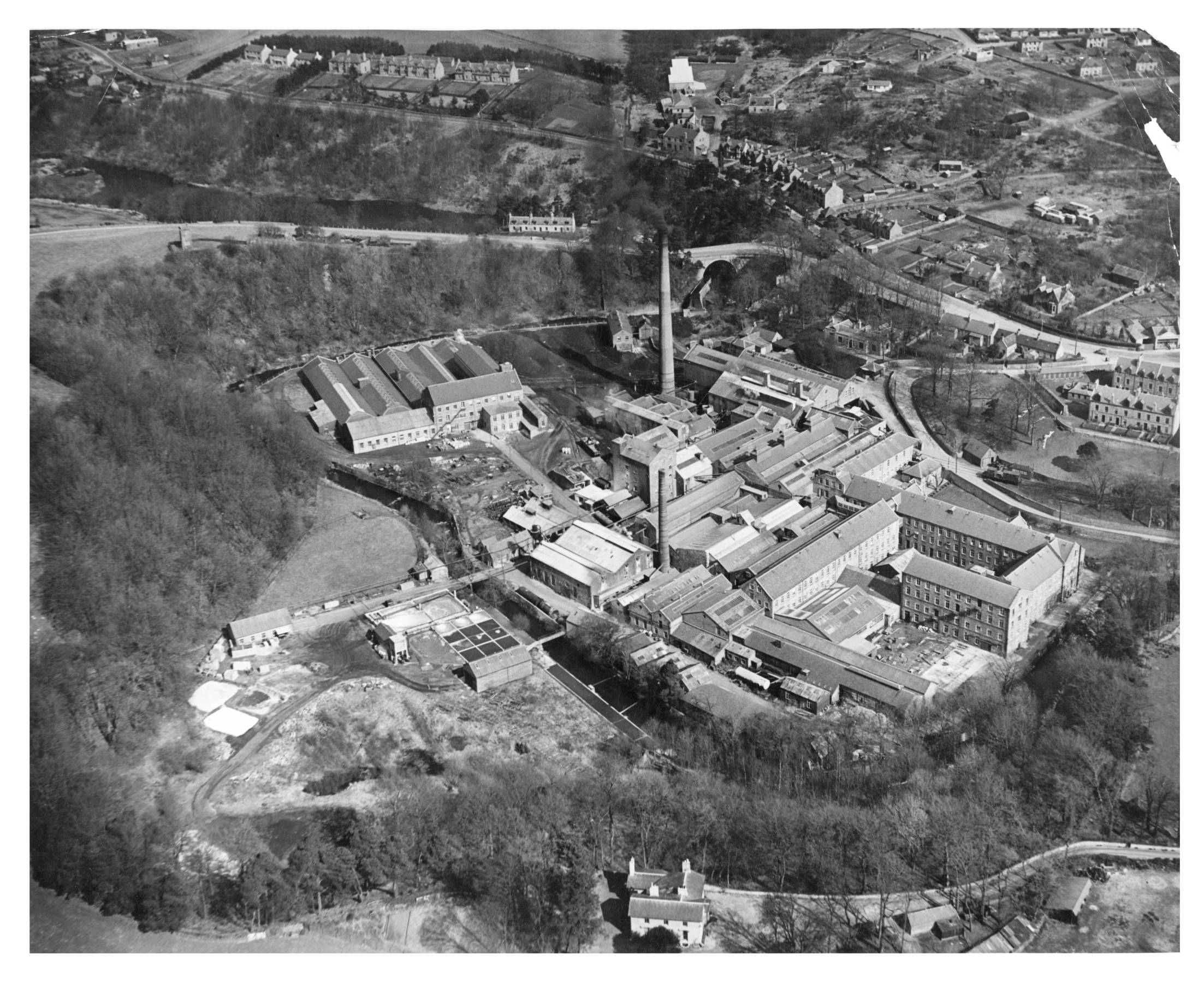 An aerial view of the Culter Paper Mill taken in 1948.
