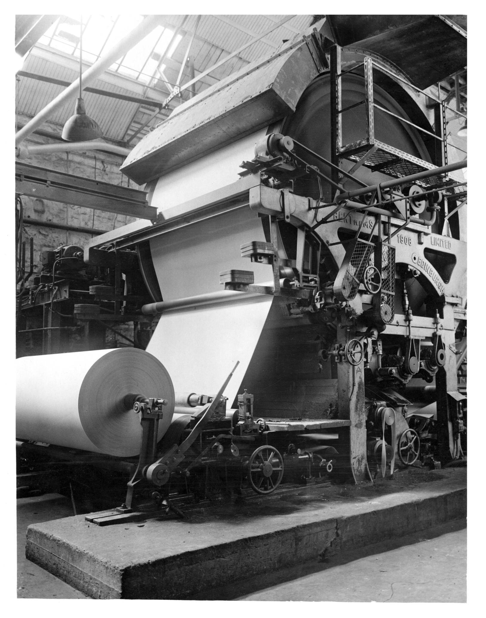 One of the enormous paper machines at Mugiemoss Mill