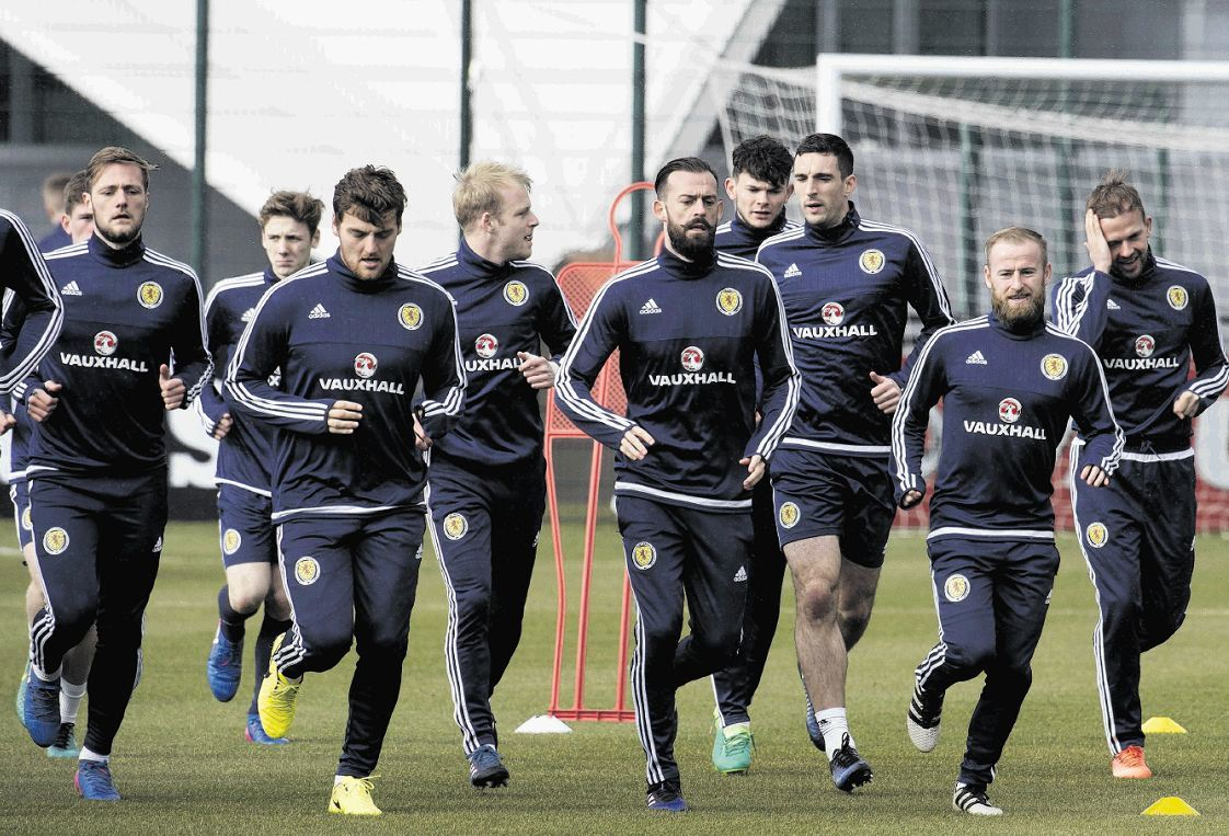 Steven Fletcher, centre, is one of the five forwards in the running to start against Canada.