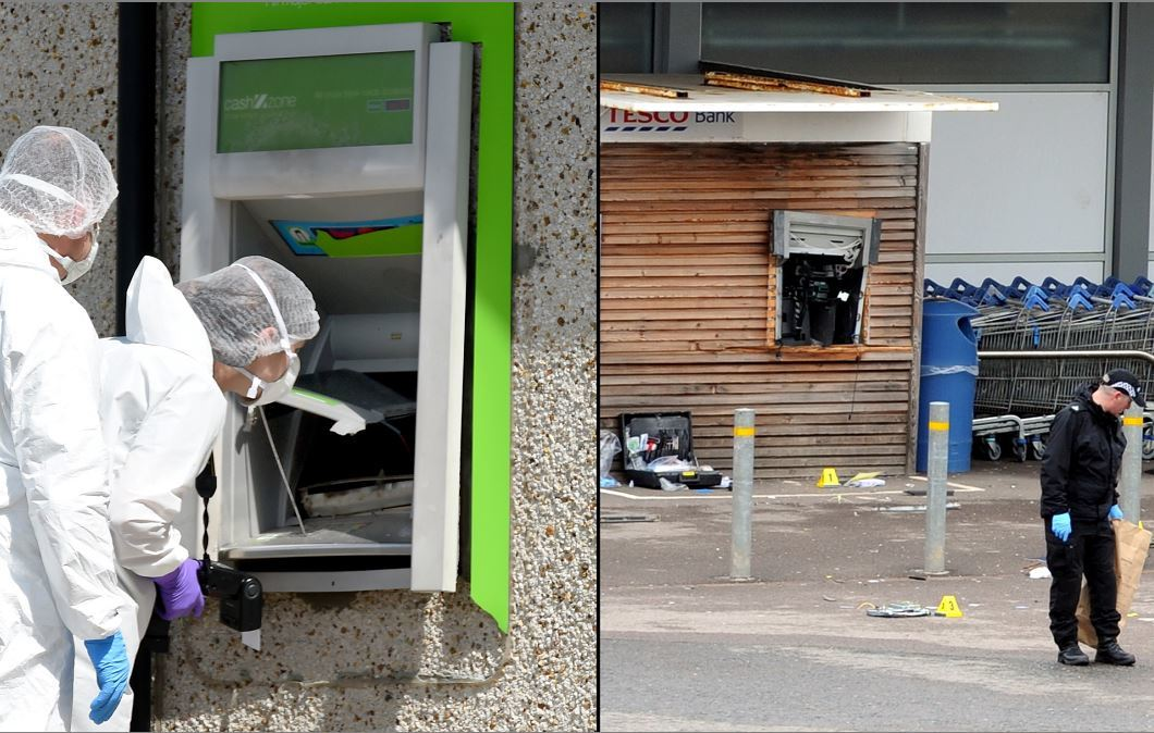 Left, thieves tried to break in to the COOP and the cashline machine at Kingswells.    Pictured, Police Scotland forensics at the scene.