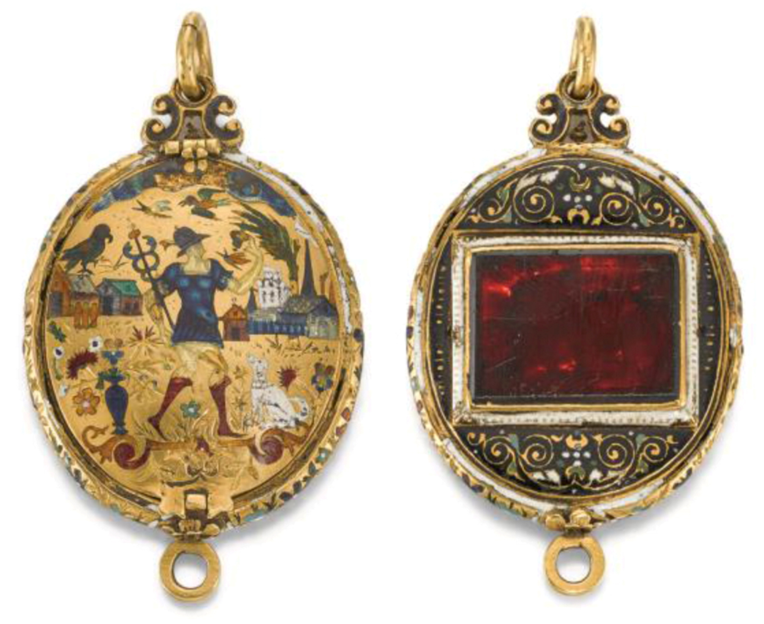 The enamelled gold pendant locket set with an almandine garnet.