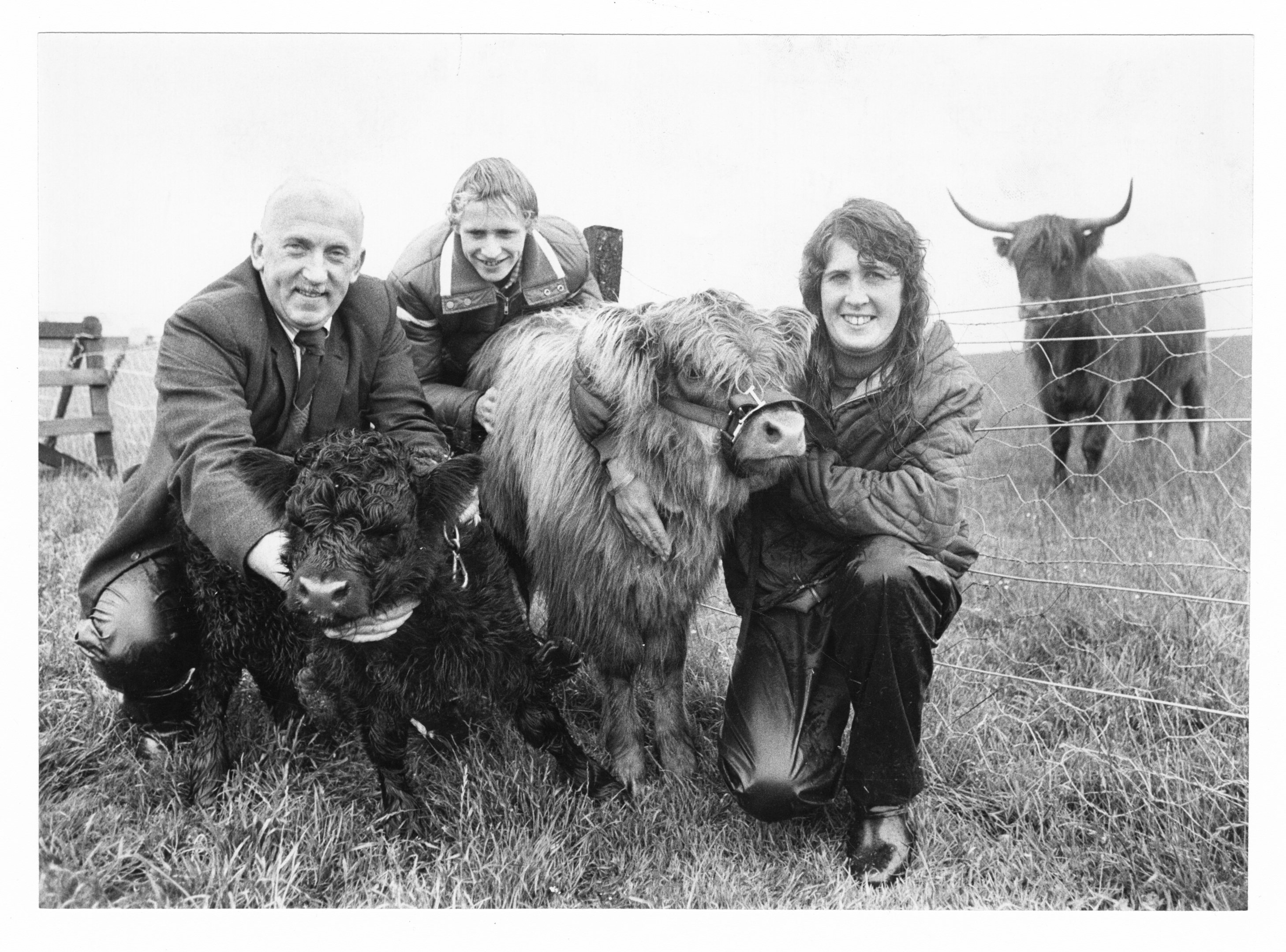 Duthie Park foreman Eddie Reid, Craig Lord and Wilma Findlay with two Highland calves.