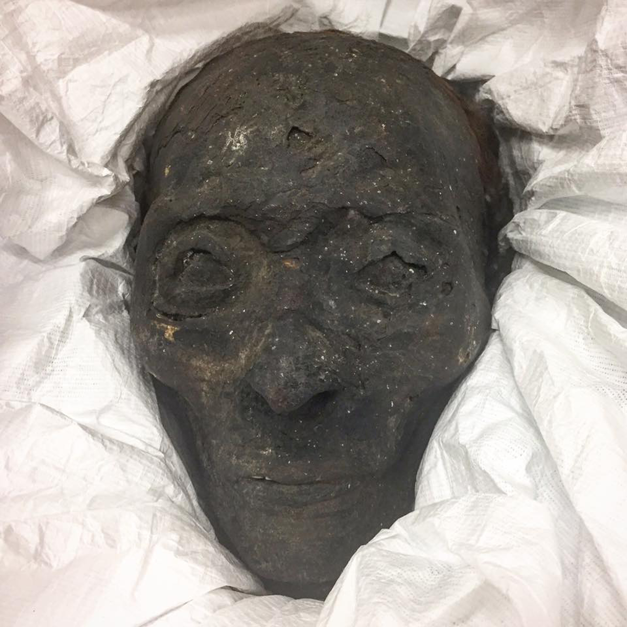 A mummified head, known affectionately as Marlon.