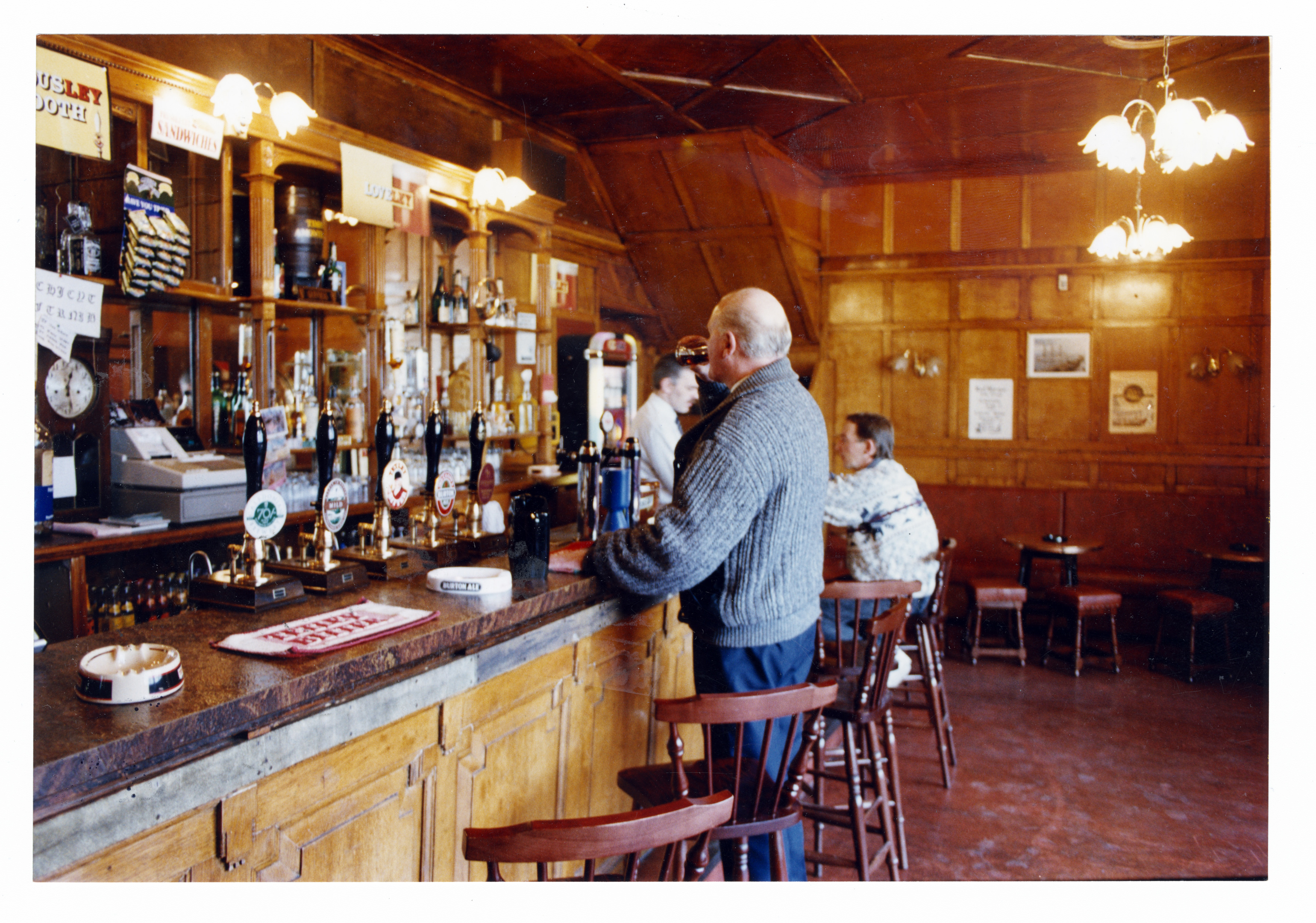 The bar of the Market Arms, Hadden Street, with oak panelling uncovered during renovation work.