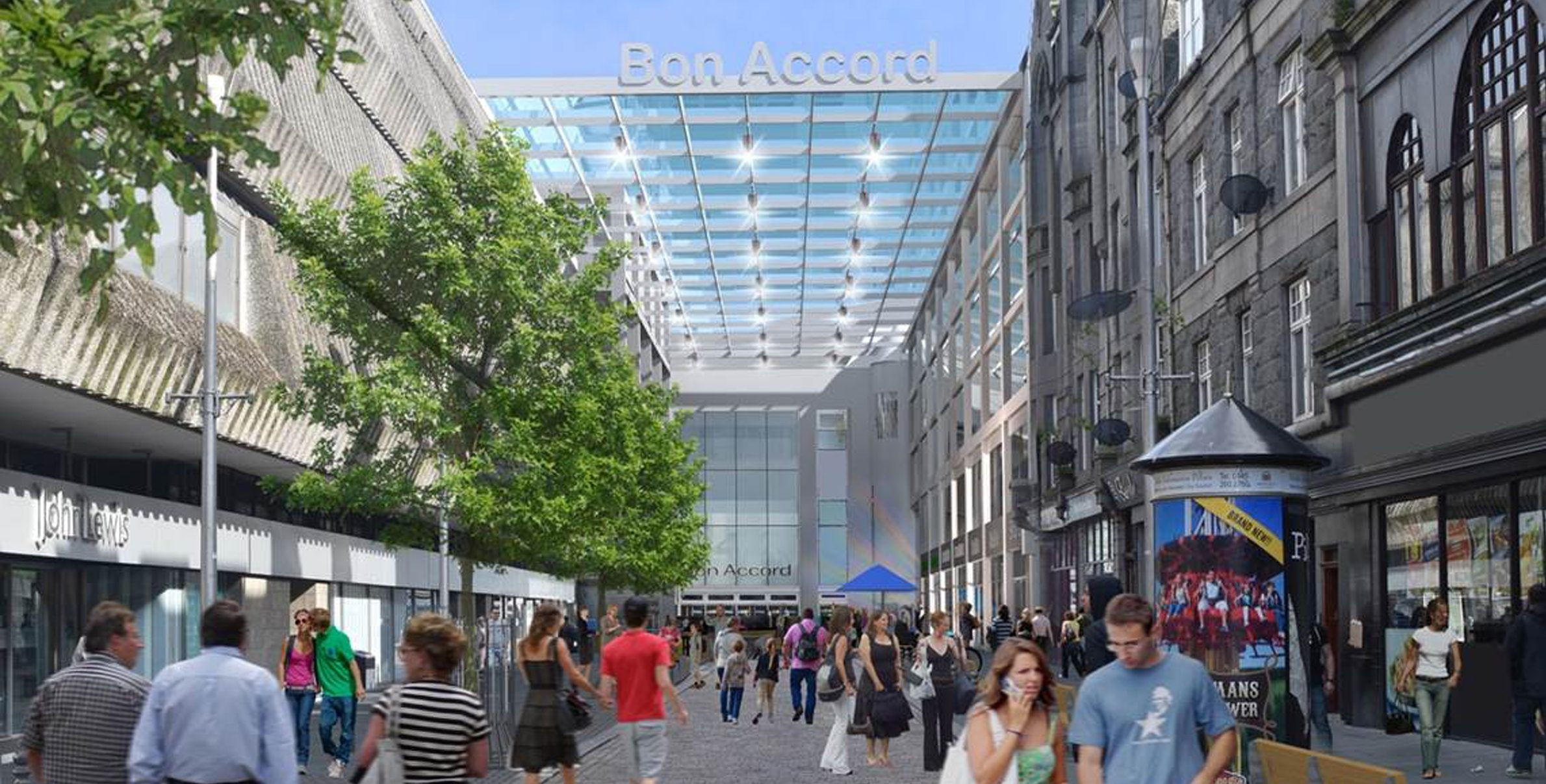 The plan includes a glazed canopy over the  entrance on George Street.