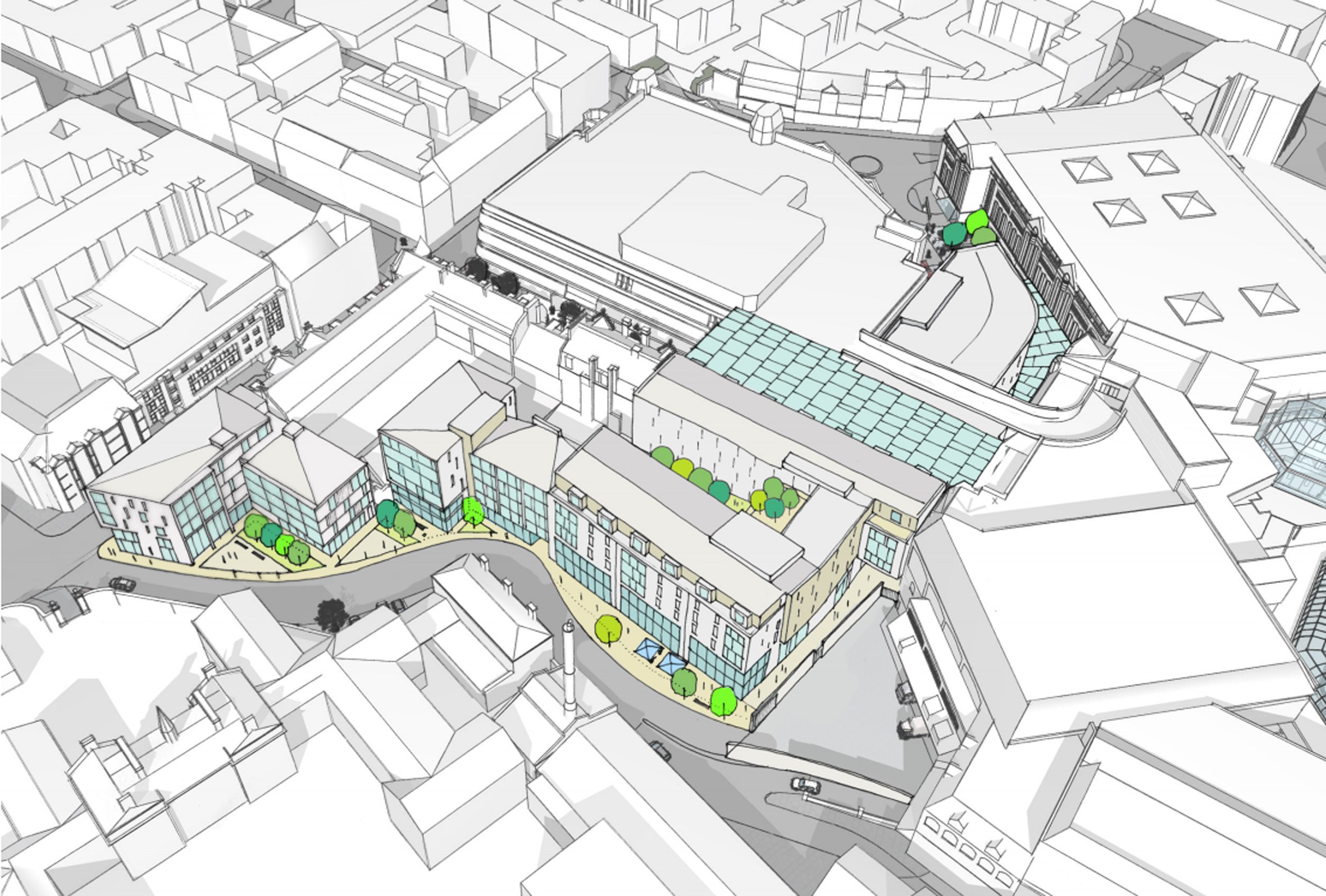 A new artist's impression of plans for the Bon Accord Centre. picture courtesy of Allan Murray, of Allan Murray Associates