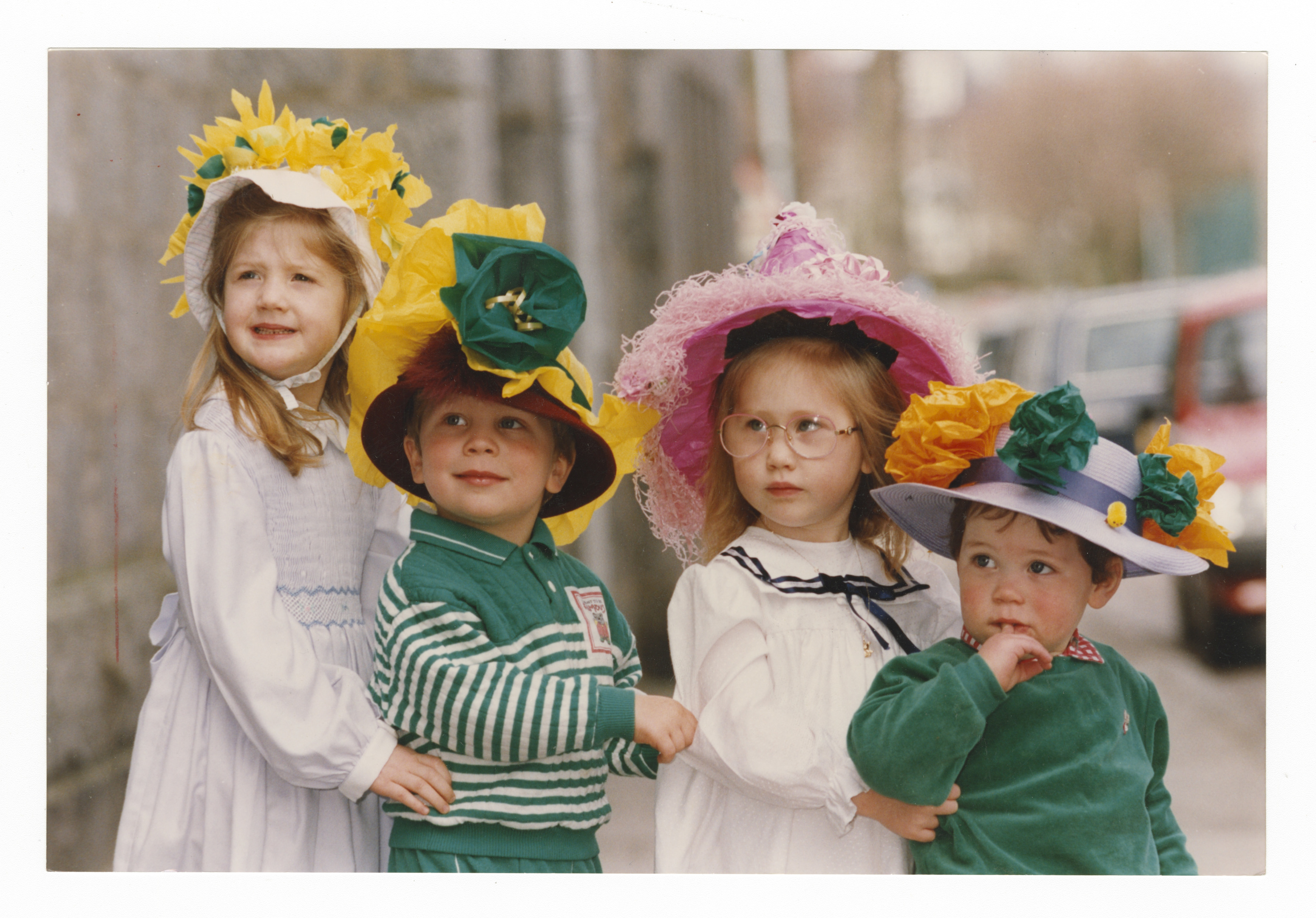 on parade: A group of Holburn West toddlers show off their Easter bonnets.