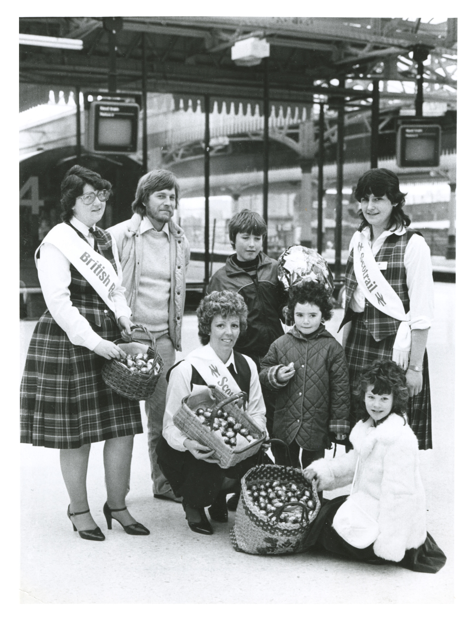 on right track: British Rail hostesses handed out chocolate eggs to children at Aberdeen Station.