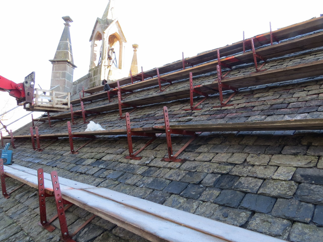 Better slate than never: The urgent roof work which was carried out at Aboyne-Dinnet Church.