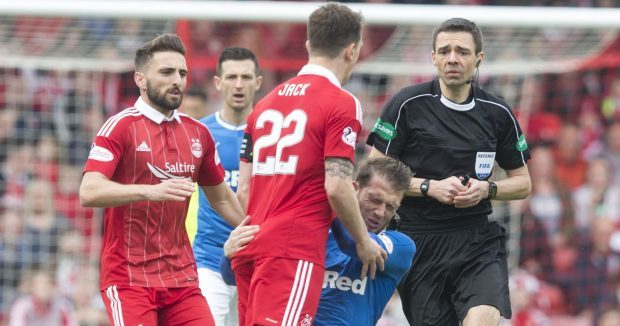 Rangers' Joe Garner hit the deck after squaring up to  Ryan Jack. Inset, Steve Tosh.