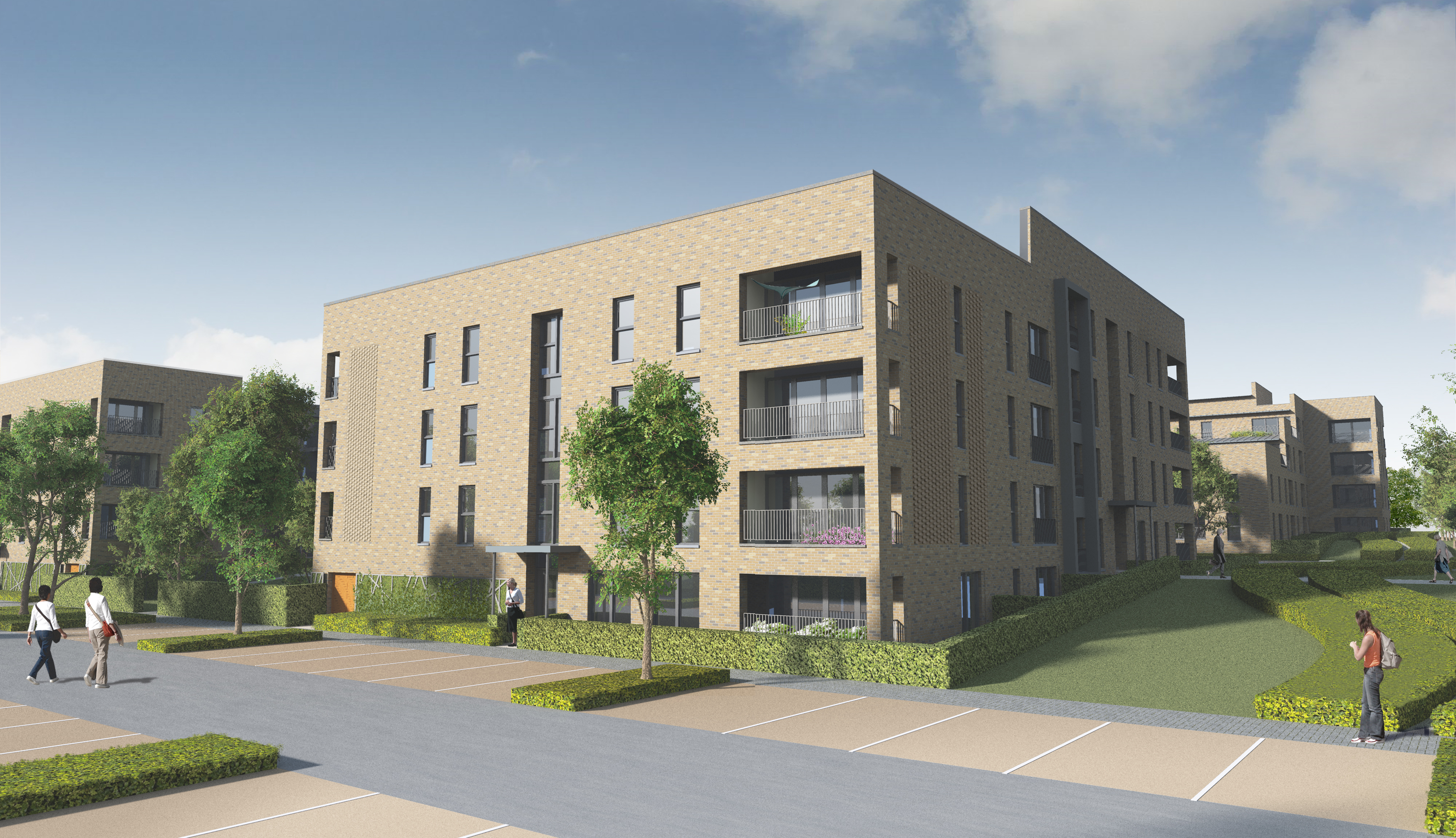 An artist's impression of how the flats could look on the Lang Stracht site.