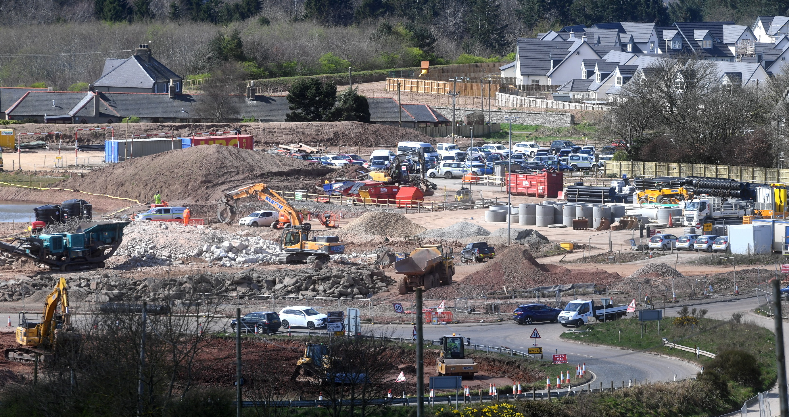 Diggers and mounds of earth as AWPR work at Stonehaven continues.