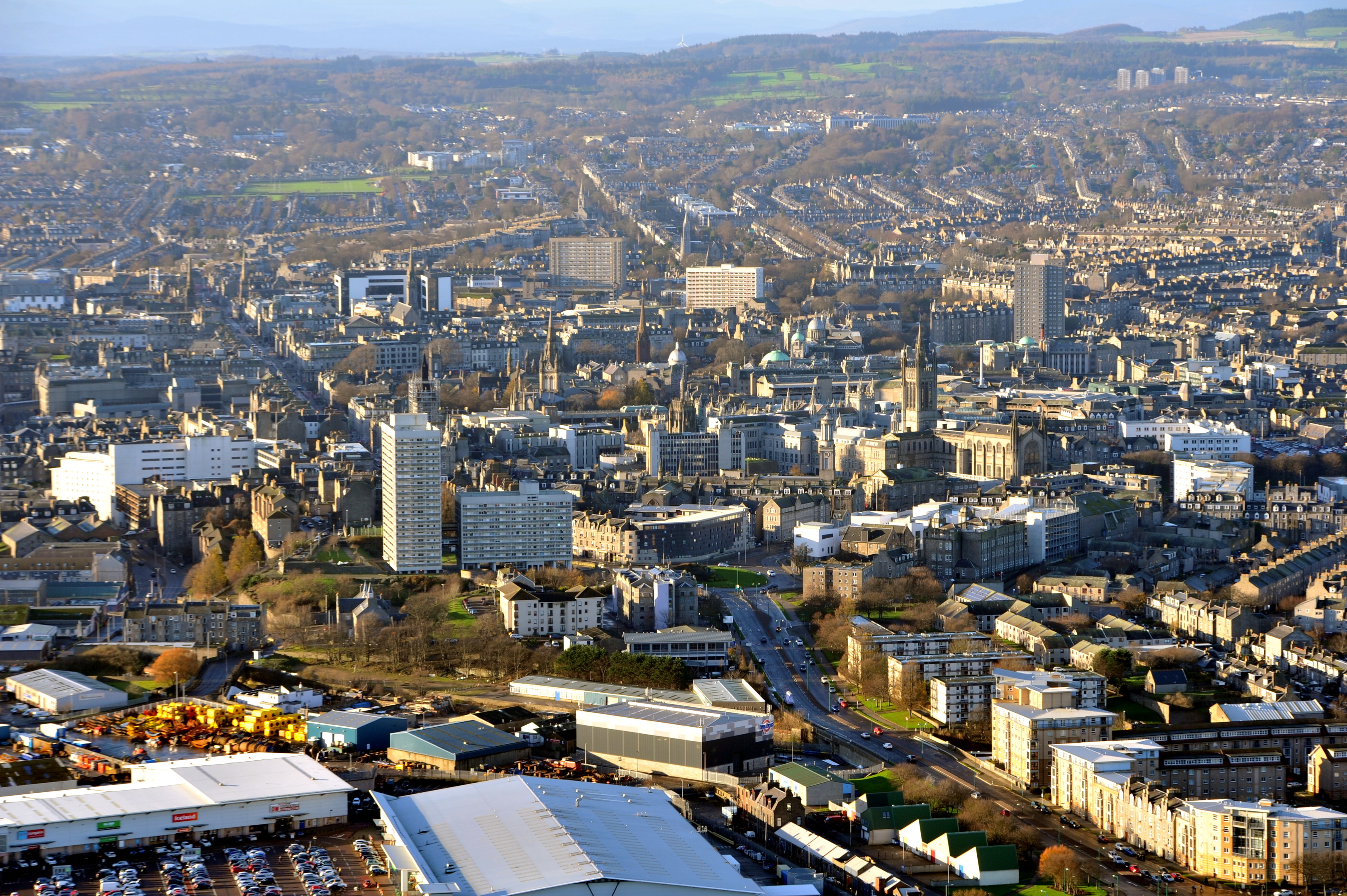 An aerial view of Aberdeen