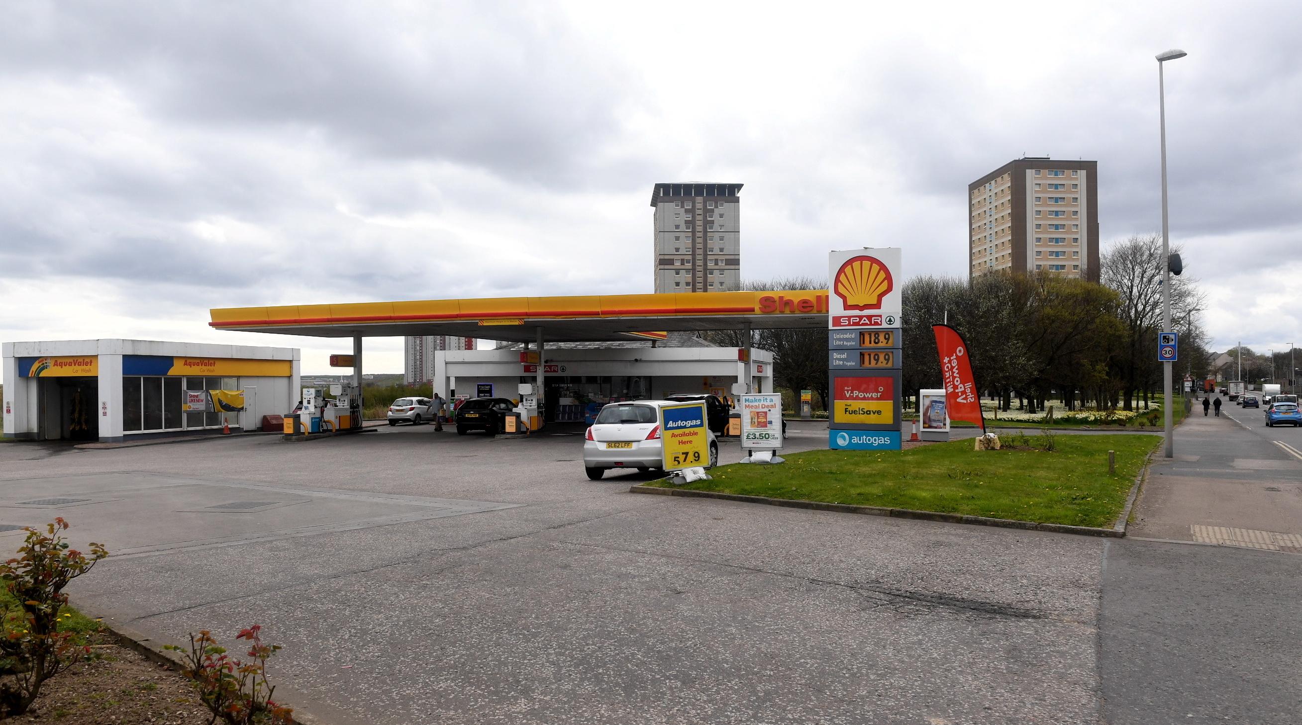 The Shell Garage  on Aberdeen's King Street.