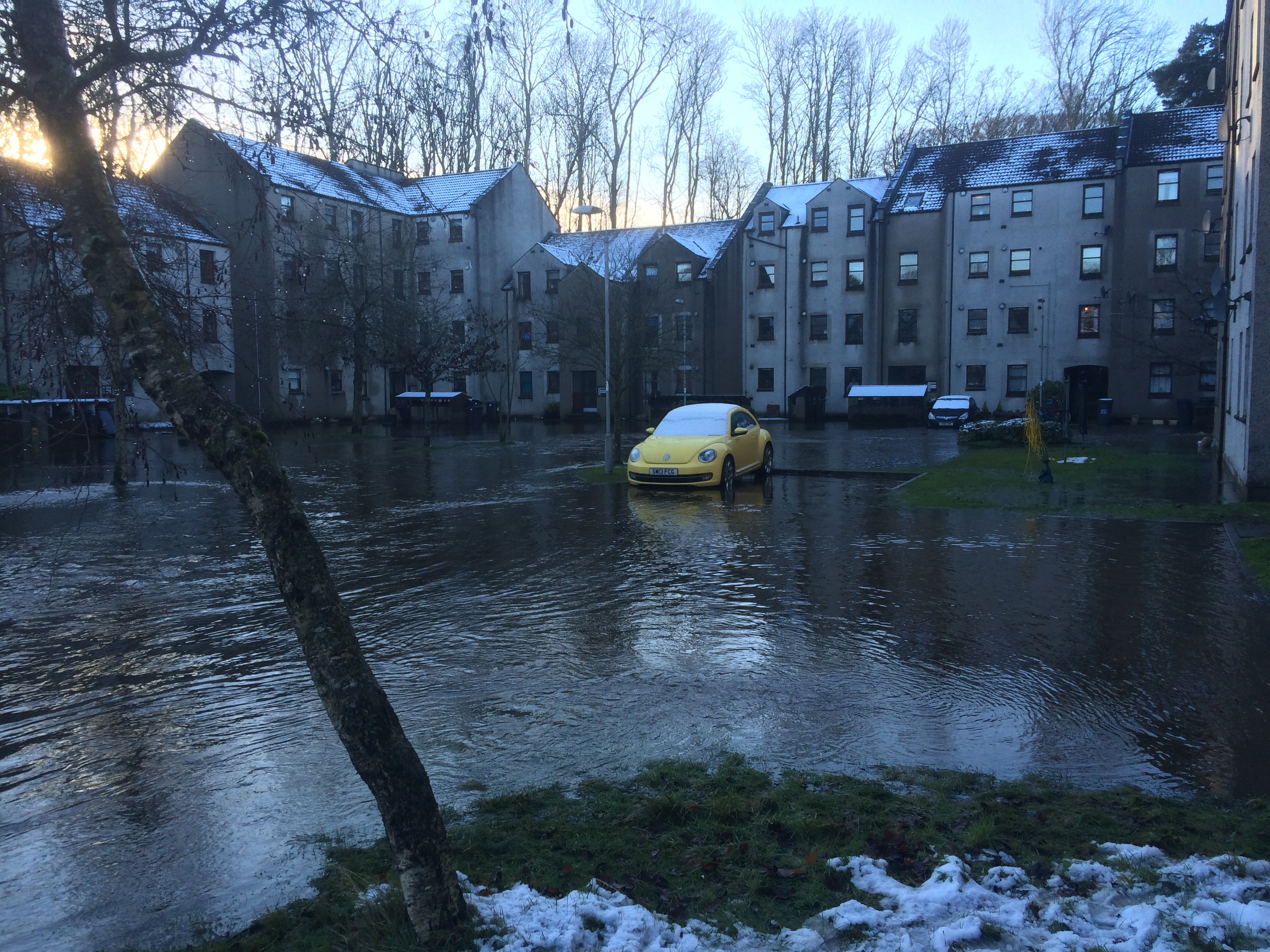 Flood waters breached people's homes in the Millside area.