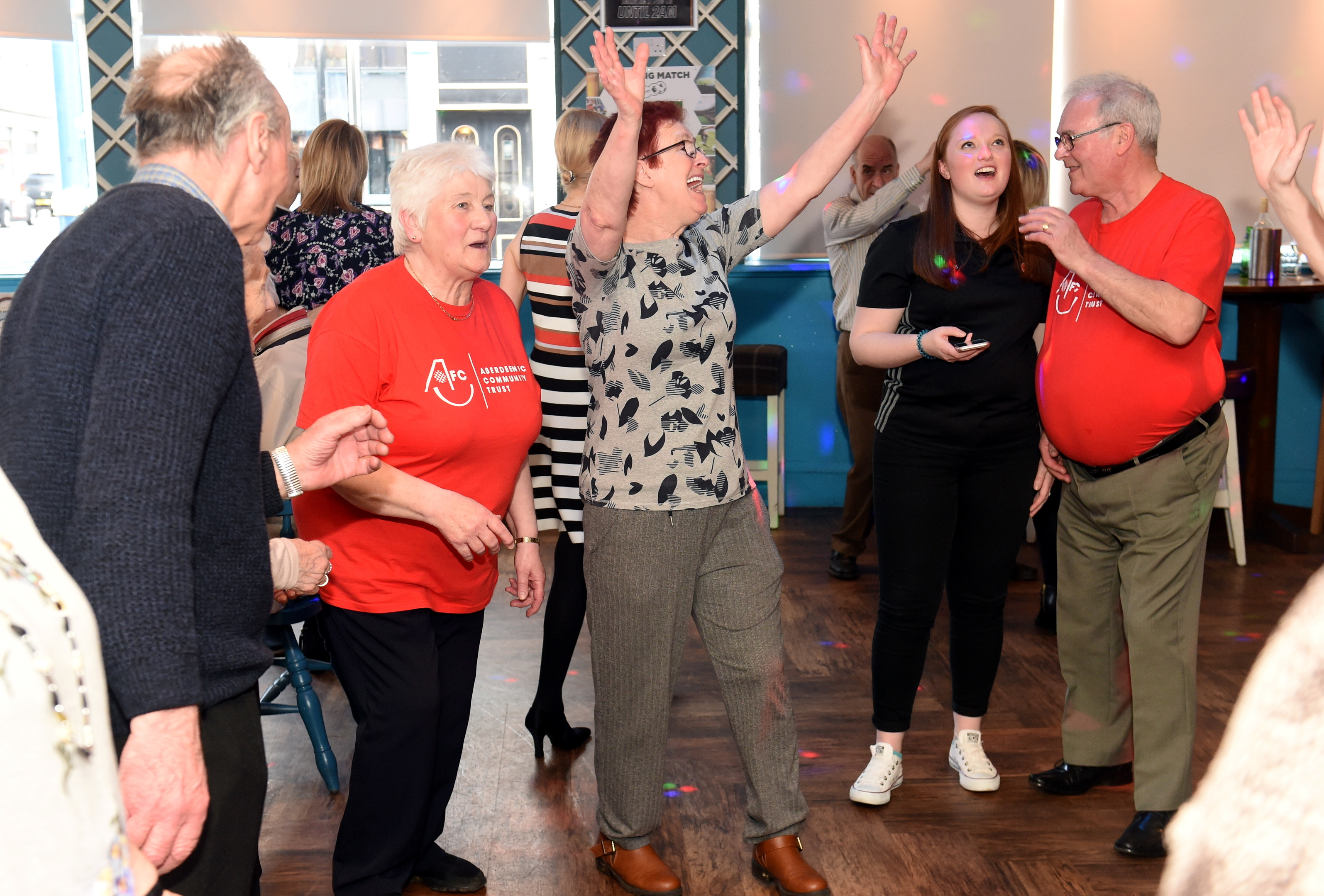 The dancers at The Foundry's dementia-friendly disco show some of their moves at the Aberdeen event.