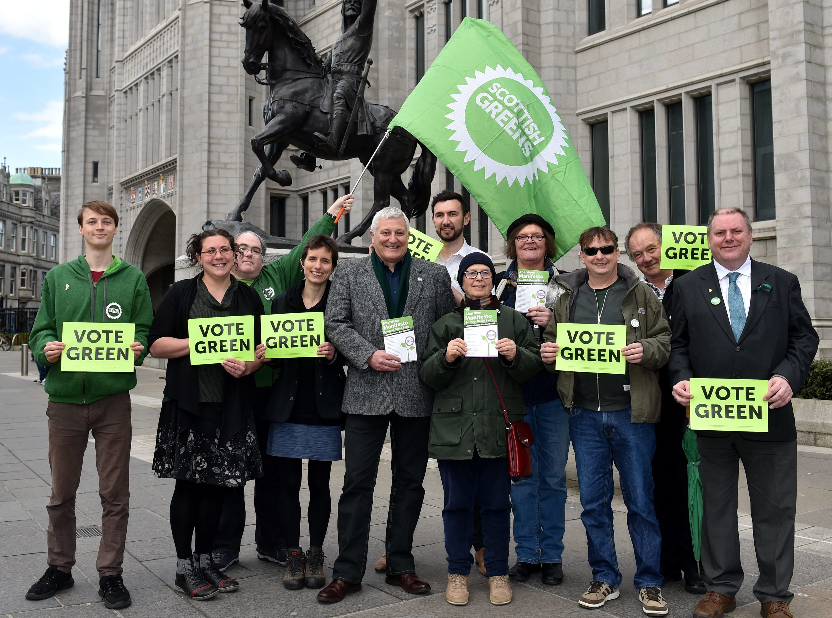 John Finnie MSP Joins Aberdeen Green Party to Launch Local Manifesto outside Marischal College, Broad Street.