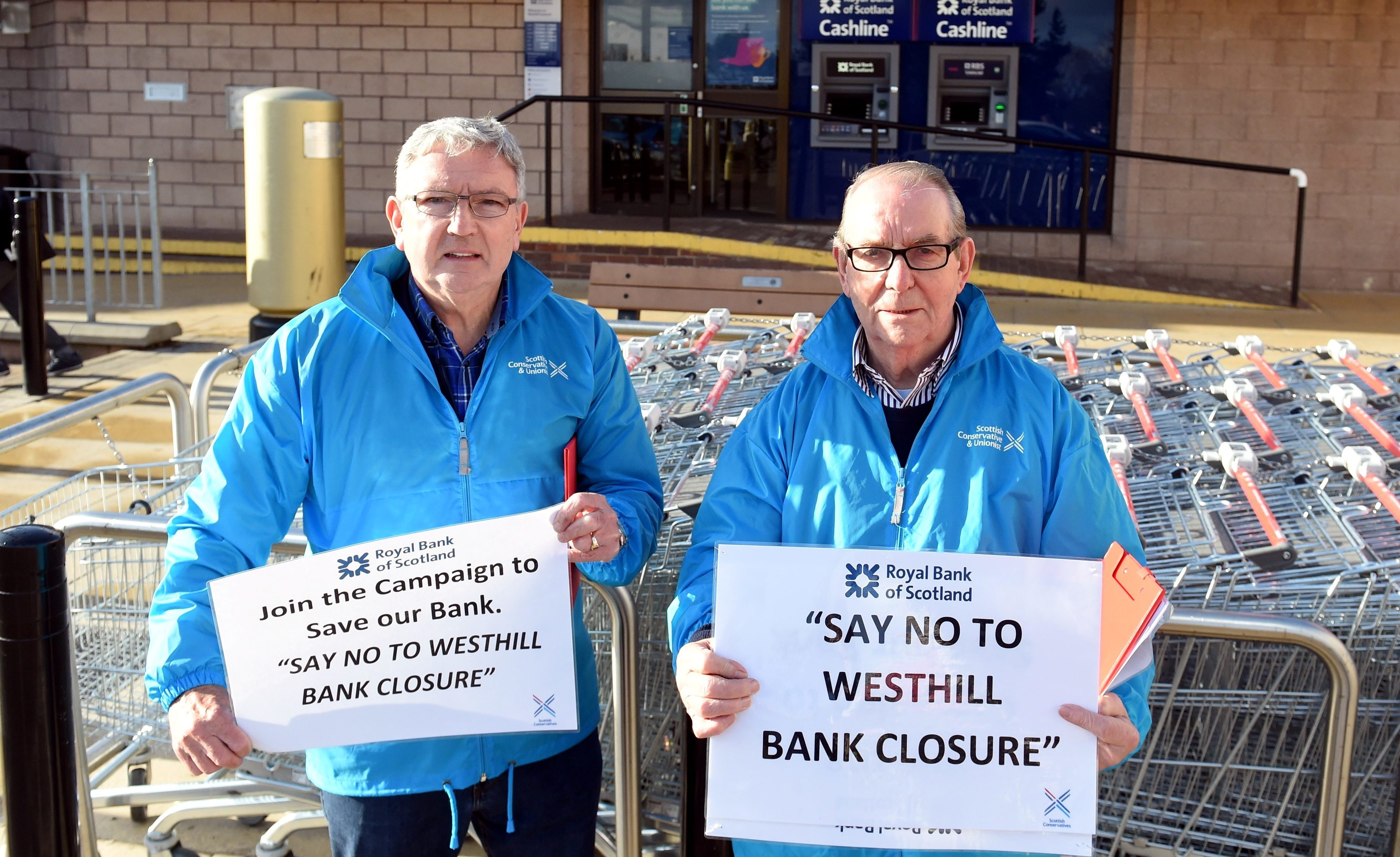 Alistair McKelvie and Cllr Ron McKail outside the RBS branch in Westhill.