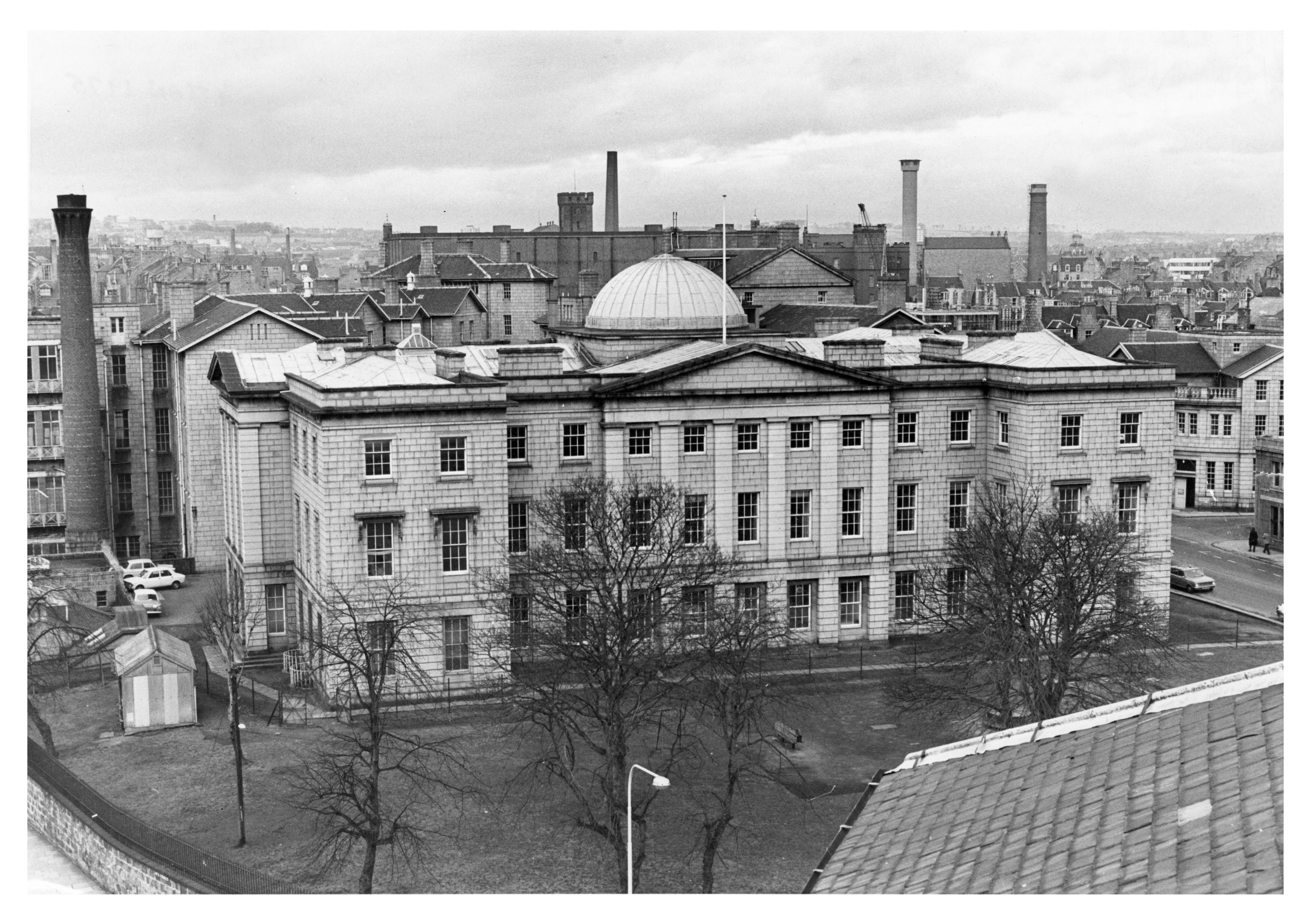 The impressive south front of Simpson's old infirmary building at Woolmanhill.