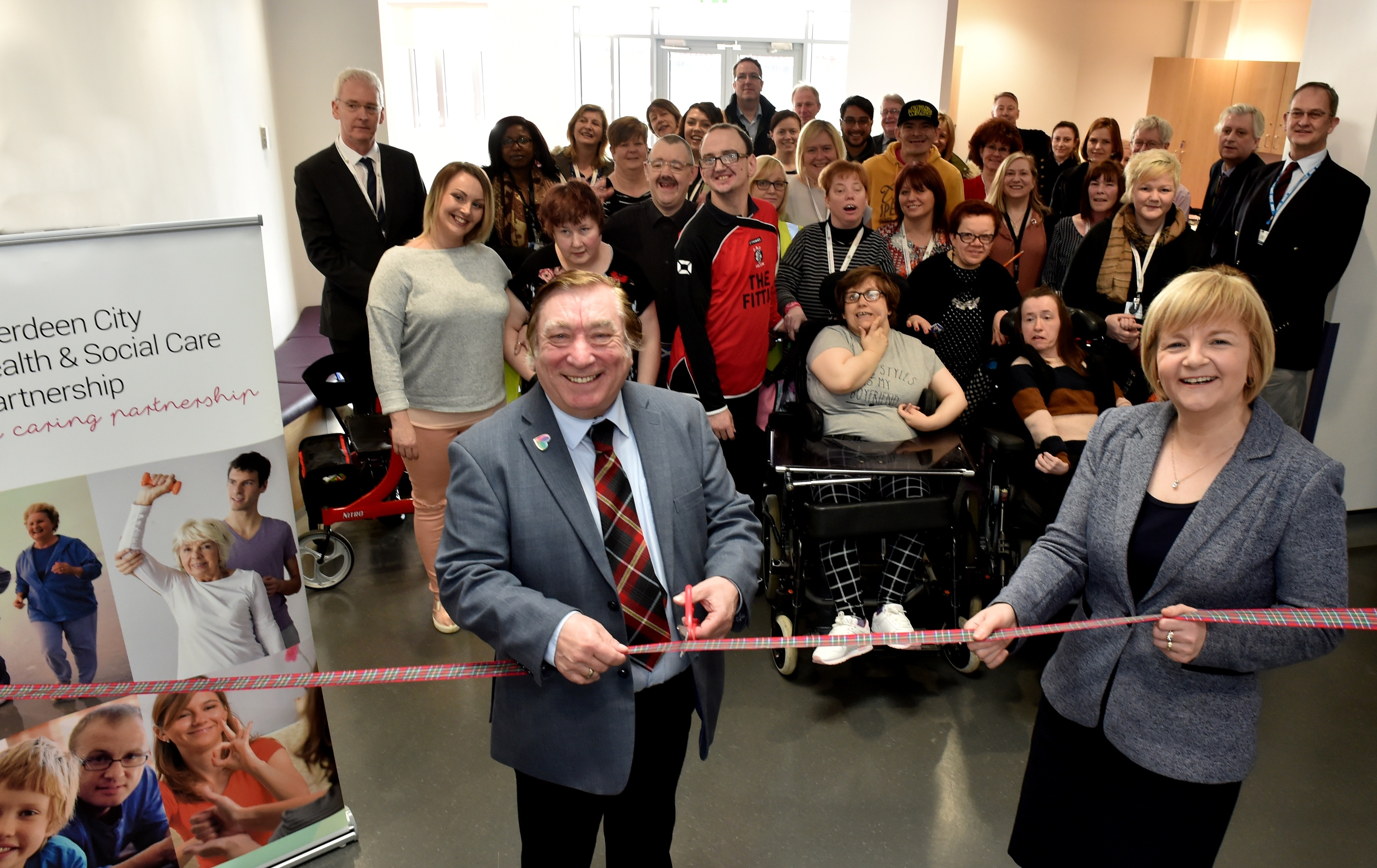 Cllr Len Ironside and Cllr Jenny Laing with residents at the new centre.