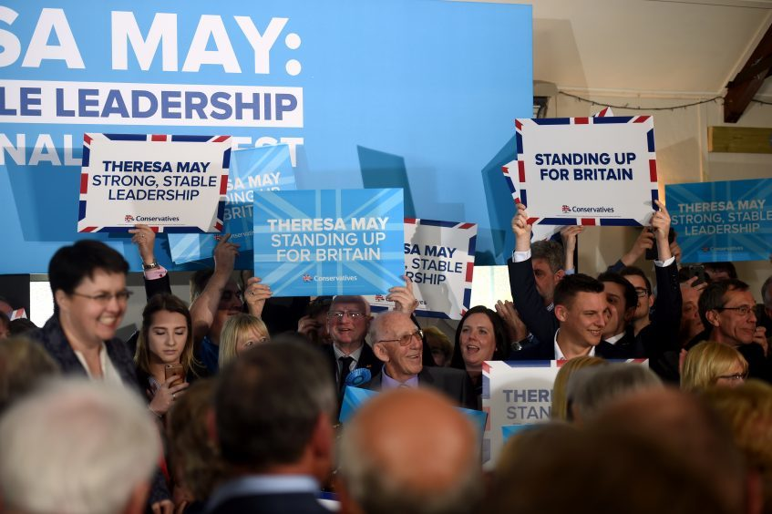 Theresa May giving a speech at Crathes Village Hall, Banchory. Pictured are the supporters. 29/04/17 Picture by HEATHER FOWLIE