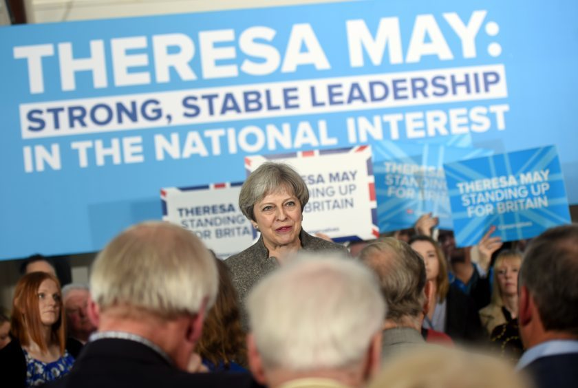 Theresa May giving a speech at Crathes Village Hall, Banchory. Pictured is Theresa May. 29/04/17 Picture by HEATHER FOWLIE