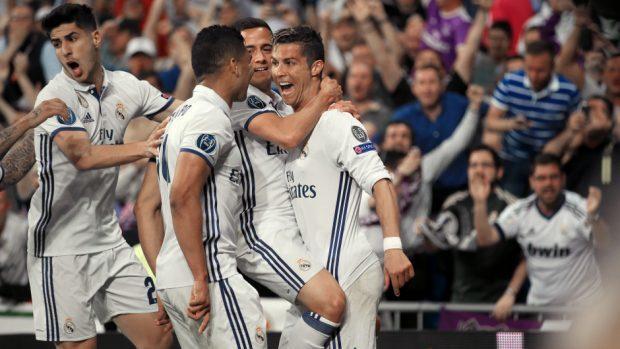 Cristiano Ronaldo celebrates scoring at the Bernabeu midweek.