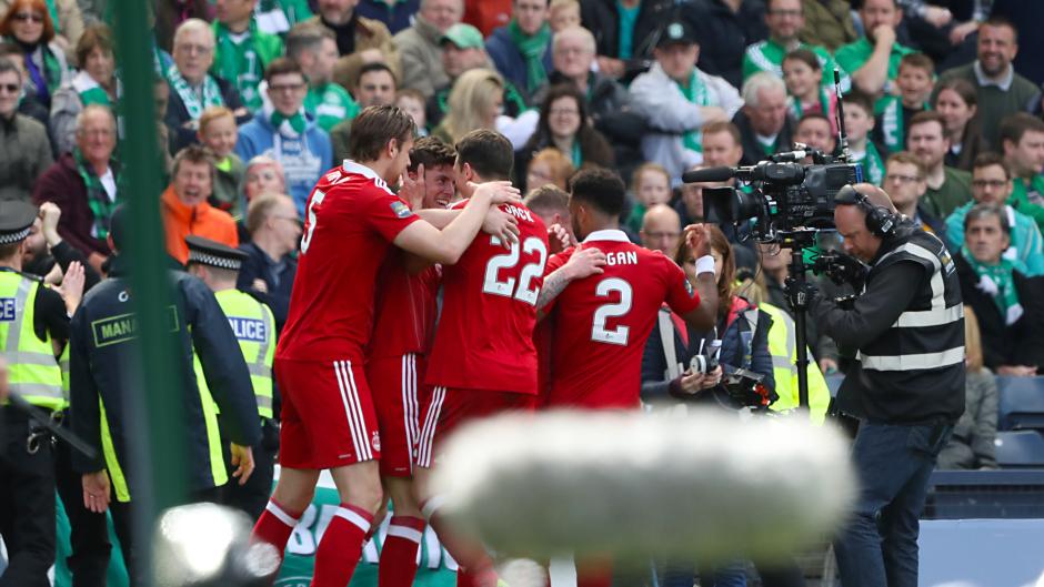 Ryan Christie celebrates his goal with his Aberdeen team-mates