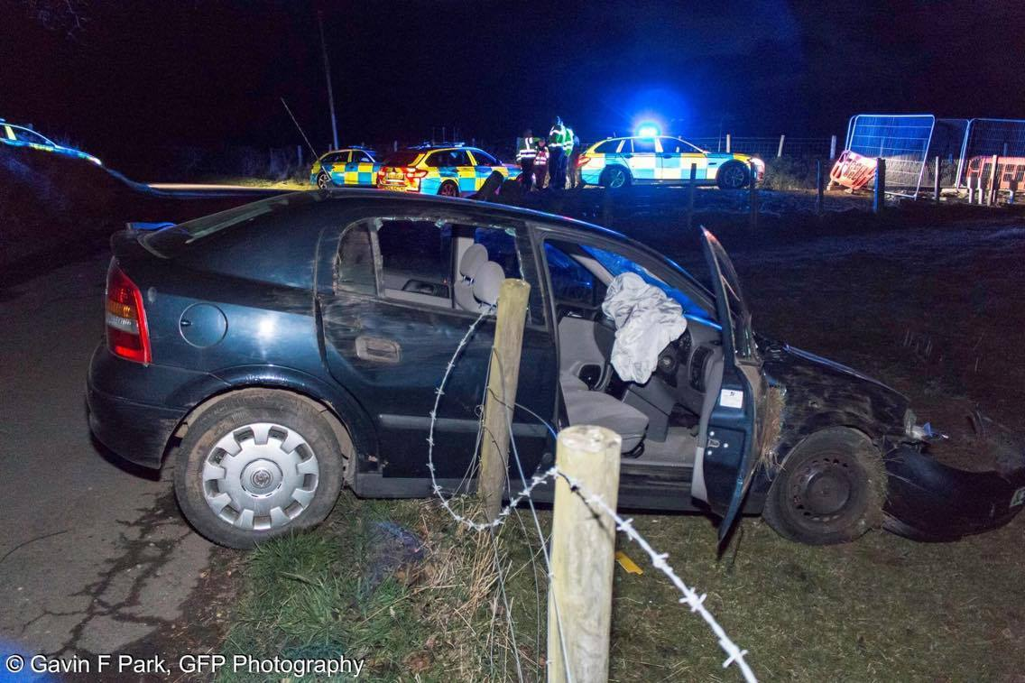 The car hit a fence. Photo by GFP Photography