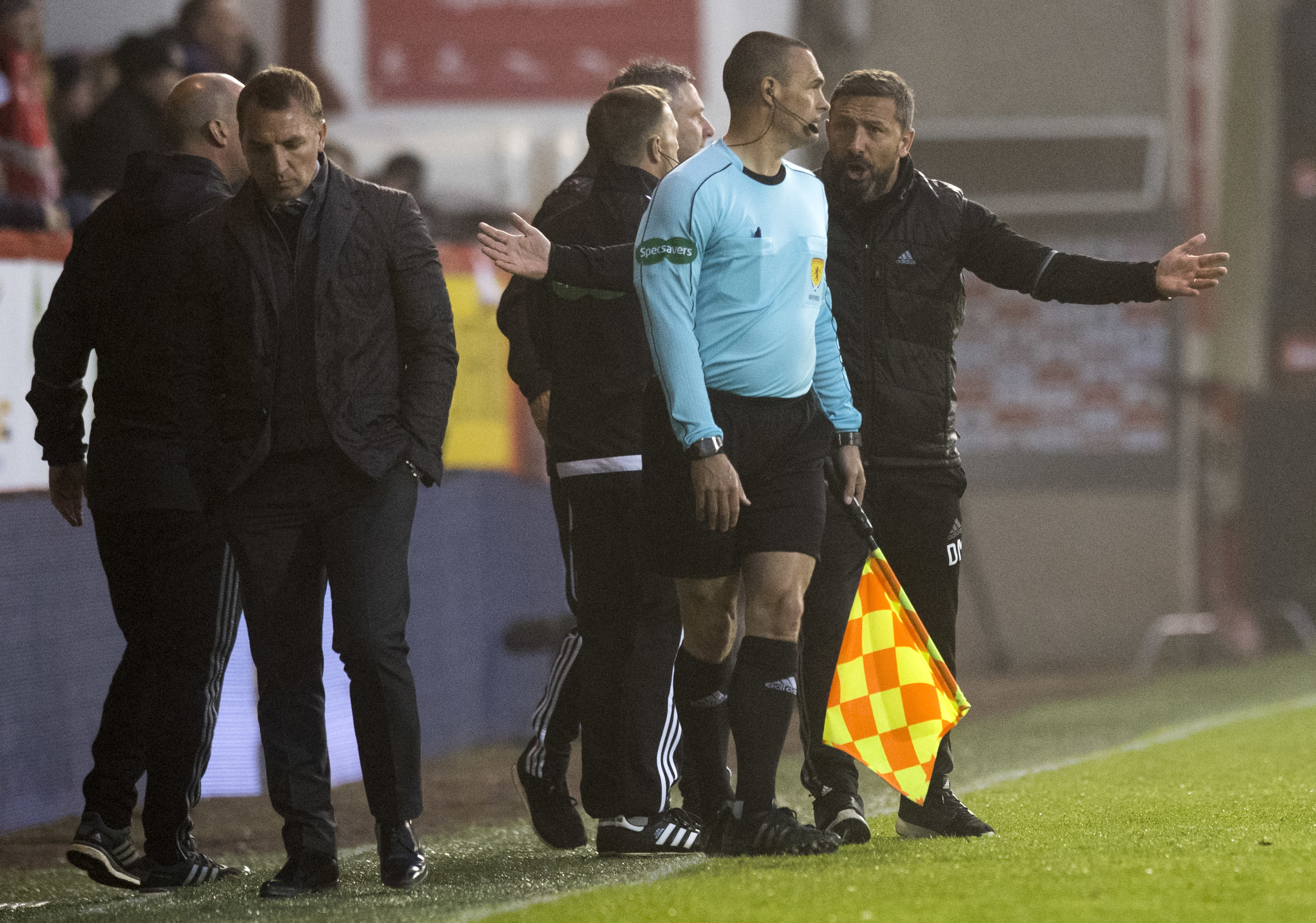 McInnes vents his frustration after being denied a penalty.