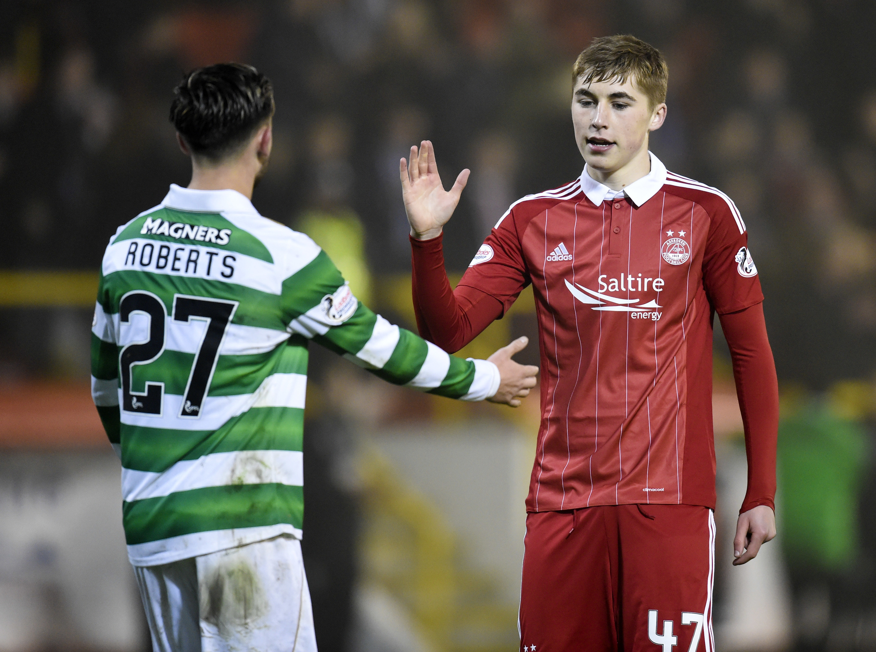 Aberdeen's Dean Campbell (right) with Patrick Roberts at full-time