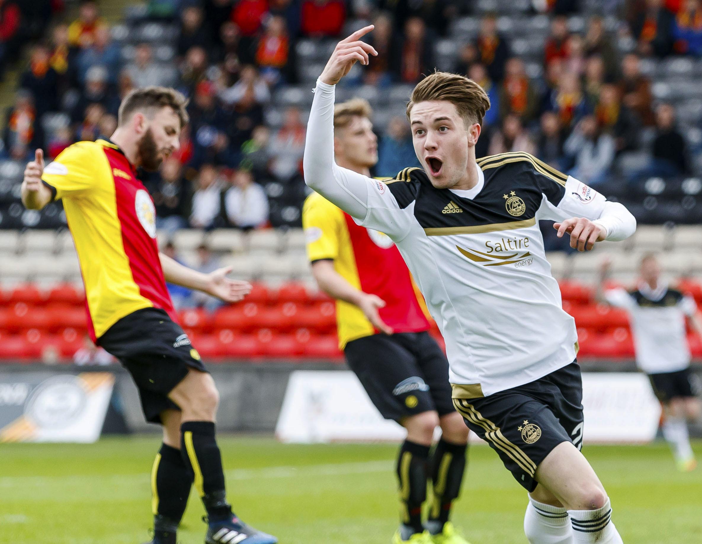 Aberdeen's Scott Wright celebrates his goal