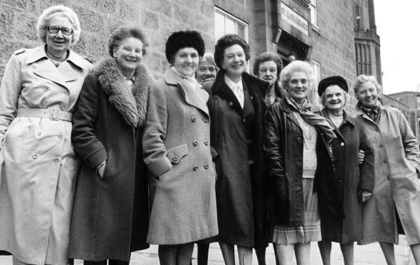 Members of the 1942 St Katherine's Club pictured in March 1984 with president Helen Aiken.
