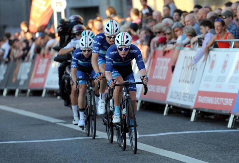 Tour Series Cycling Round 8 Aberdeen Elite Race Pictured are the winning team of the night Bike Channel Canyon in action. Picture by DARRELL BENNS     Pictured on 25/05/2017